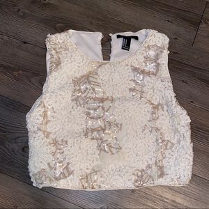 Cream and Gold sequin crop top